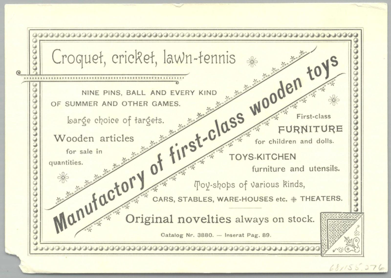 Игра крокет - Рекламная листовка 1893 года