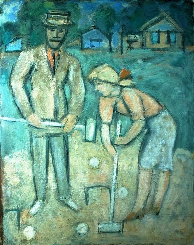 Евгений Расторгуев, «Крокет», 1999 Картон, масло 49х39